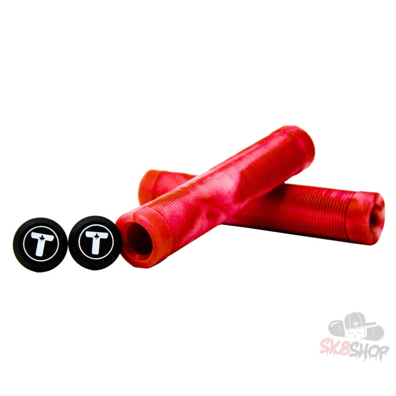 Trynyty Swirl Pro Scooter Grips (Red/Transparent)